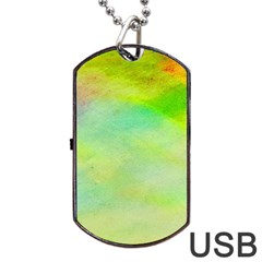 Abstract Yellow Green Oil Dog Tag Usb Flash (one Side)