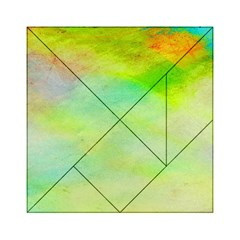 Abstract Yellow Green Oil Acrylic Tangram Puzzle (6  x 6 )