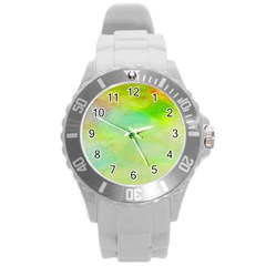 Abstract Yellow Green Oil Round Plastic Sport Watch (l)