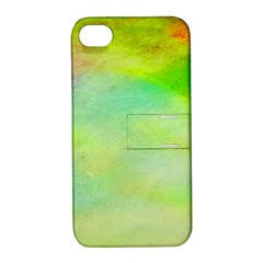 Abstract Yellow Green Oil Apple Iphone 4/4s Hardshell Case With Stand