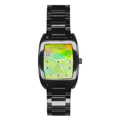 Abstract Yellow Green Oil Stainless Steel Barrel Watch