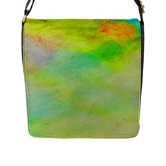 Abstract Yellow Green Oil Flap Messenger Bag (l)