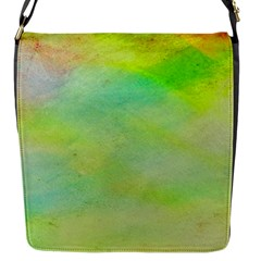 Abstract Yellow Green Oil Flap Messenger Bag (S)