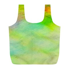 Abstract Yellow Green Oil Full Print Recycle Bags (l)