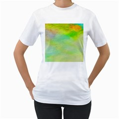 Abstract Yellow Green Oil Women s T-Shirt (White)
