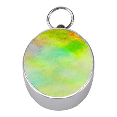 Abstract Yellow Green Oil Mini Silver Compasses