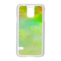 Abstract Yellow Green Oil Samsung Galaxy S5 Case (white)