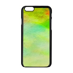 Abstract Yellow Green Oil Apple iPhone 6/6S Black Enamel Case