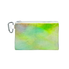 Abstract Yellow Green Oil Canvas Cosmetic Bag (S)
