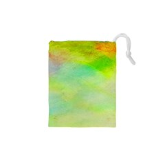 Abstract Yellow Green Oil Drawstring Pouches (xs)