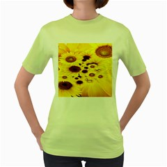Beautiful Sunflowers Women s Green T Shirt