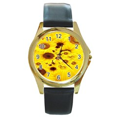 Beautiful Sunflowers Round Gold Metal Watch