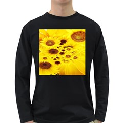 Beautiful Sunflowers Long Sleeve Dark T Shirts