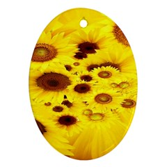 Beautiful Sunflowers Oval Ornament (two Sides)