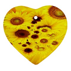 Beautiful Sunflowers Heart Ornament (two Sides)