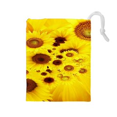 Beautiful Sunflowers Drawstring Pouches (large)