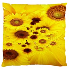 Beautiful Sunflowers Large Flano Cushion Case (two Sides)