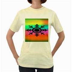 Vector Snowflake Women s Yellow T-Shirt