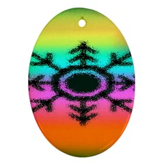 Vector Snowflake Oval Ornament (two Sides)