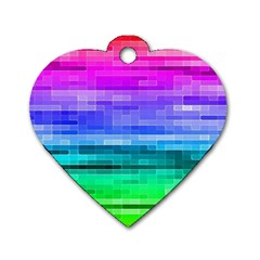 Pretty Color Dog Tag Heart (One Side)