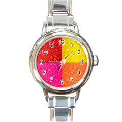 Color Abstract Drops Round Italian Charm Watch