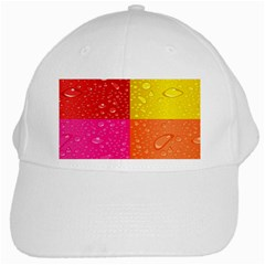 Color Abstract Drops White Cap