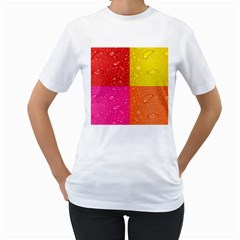 Color Abstract Drops Women s T Shirt (white) (two Sided)
