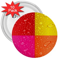 Color Abstract Drops 3  Buttons (10 pack)