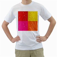 Color Abstract Drops Men s T Shirt (white) (two Sided)
