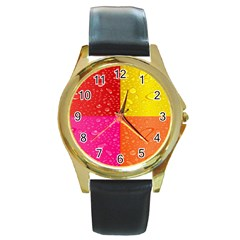 Color Abstract Drops Round Gold Metal Watch
