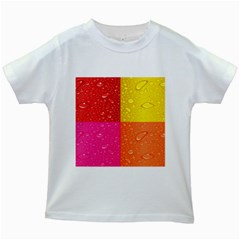 Color Abstract Drops Kids White T-Shirts