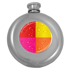 Color Abstract Drops Round Hip Flask (5 oz)