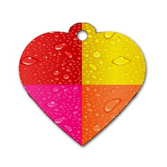 Color Abstract Drops Dog Tag Heart (one Side)