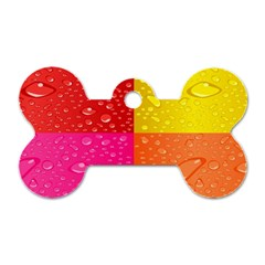 Color Abstract Drops Dog Tag Bone (Two Sides)
