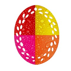 Color Abstract Drops Ornament (oval Filigree)