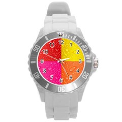 Color Abstract Drops Round Plastic Sport Watch (L)