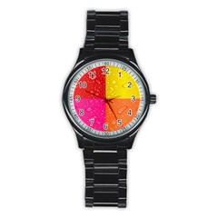 Color Abstract Drops Stainless Steel Round Watch