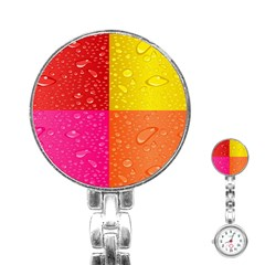 Color Abstract Drops Stainless Steel Nurses Watch