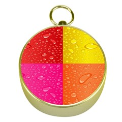 Color Abstract Drops Gold Compasses