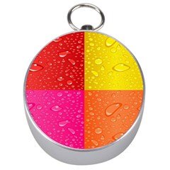 Color Abstract Drops Silver Compasses
