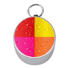 Color Abstract Drops Mini Silver Compasses