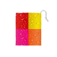 Color Abstract Drops Drawstring Pouches (Small)