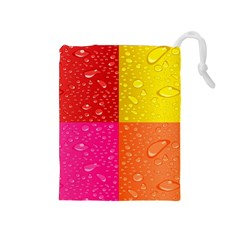Color Abstract Drops Drawstring Pouches (Medium)