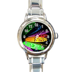 Abstract Flower Round Italian Charm Watch
