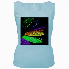 Abstract Flower Women s Baby Blue Tank Top