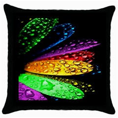 Abstract Flower Throw Pillow Case (Black)