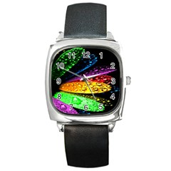 Abstract Flower Square Metal Watch