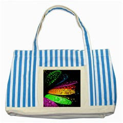 Abstract Flower Striped Blue Tote Bag