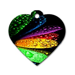 Abstract Flower Dog Tag Heart (One Side)