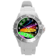 Abstract Flower Round Plastic Sport Watch (l)